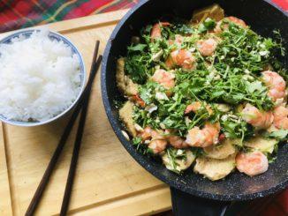 Krevety s tofu a rýží
